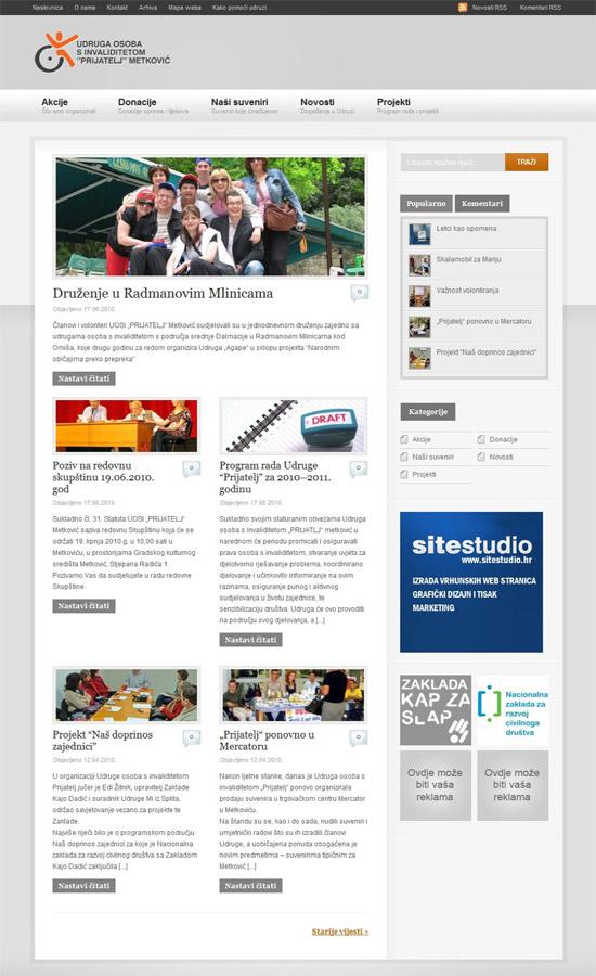 Web stranica za Udrugu Prijatelj